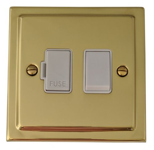 G&H TB57W Trimline Plate Polished Brass 1 Gang Fused Spur 13A Switched